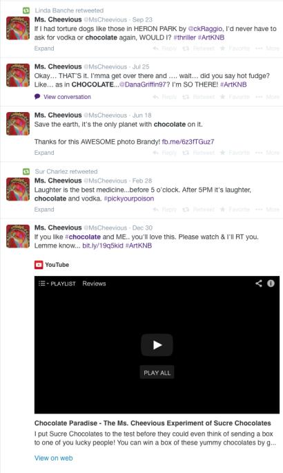 Ms. Cheevious Chocolate Tweets