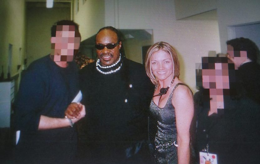 Another rare backstage image with Stevie Wonder and other members of the crew. This is one event where my relentless networking paid off!